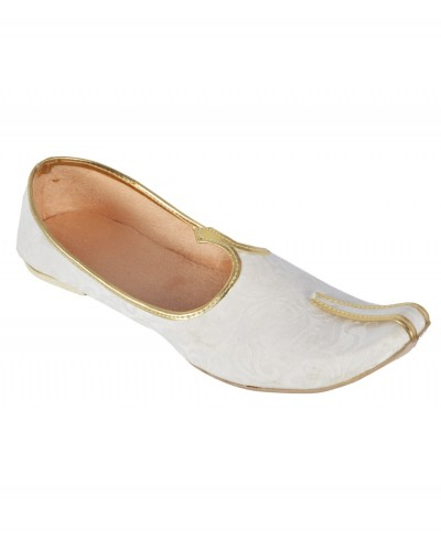 White Synthetic Leather Jutti