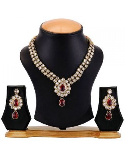 Beautiful Red & White Necklace Set with Earrings