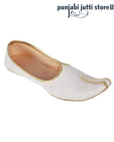 White Synthetic Leather Jutti